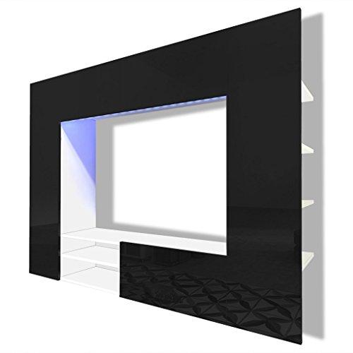 vidaXL Unité murale de 169,2 cm noir brillant pour télévision LED Support Fixation TV
