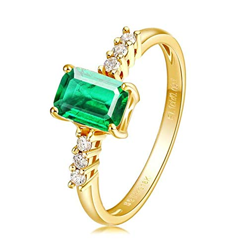 AnazoZ Echtschmuck 18 Karat 750 Gold Damen 1.8CT Smaragd Rechteckige Form Verlobungsringe Gold Schmuck 49 (15.6) (3 Diamant-ring Karat Fake)