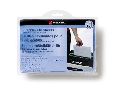 Rexel fogli lubrificanti per distruggidocumenti, confezione da 12 pezzi