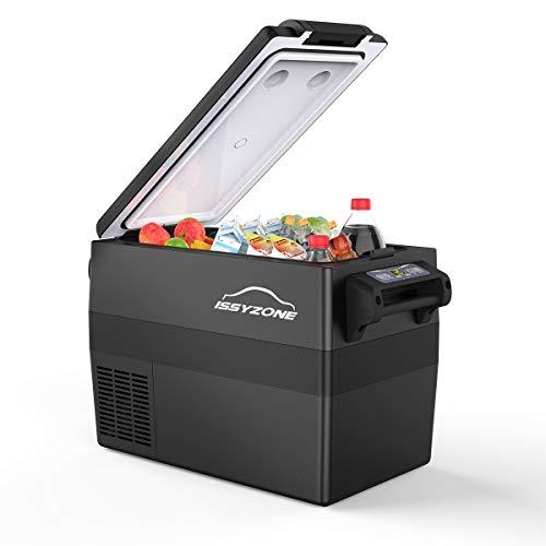 ISSYZONE Kompressor Kühlbox, 42L elektrischer lautloser Auto Kühlschrank, -20 bis 10 ° C, mit Batteriewächter, 12 V und 230 V für Auto, LKW und Steckdose