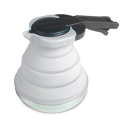 Leichte, faltbare Kanne aus Silikon in grau 1,2 Liter mit Deckel und Griff • Kaffeekanne Teekanne...