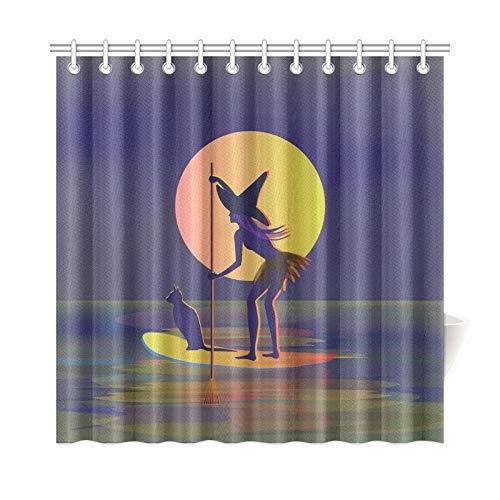 JOCHUAN Wohnkultur Bad Vorhang Halloween Mond Hexenhut Schwarze Katze Polyester Stoff Wasserdicht Duschvorhang Für Bad, 72X72 Zoll Duschvorhänge Haken Enthalten