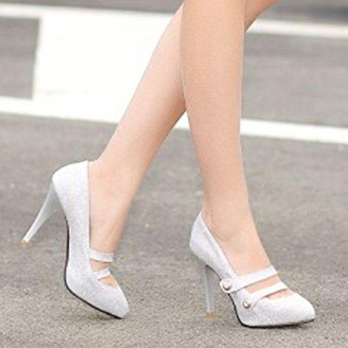 COOLCEPT Femmes Mode Slip On Court Chaussures Bout Ferme Talon Aiguille Escarpins Argent