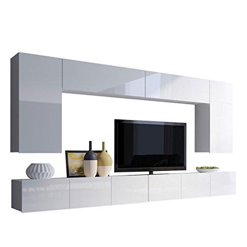 Moderne Wohnwand Calabrini XIII, Anbauwand, Mediawand, Hängeschrank, TV Lowboard, Wandregal, Fernsehschrank, Wohnzimmerschrank (Weiß/Weiß Hochglanz)