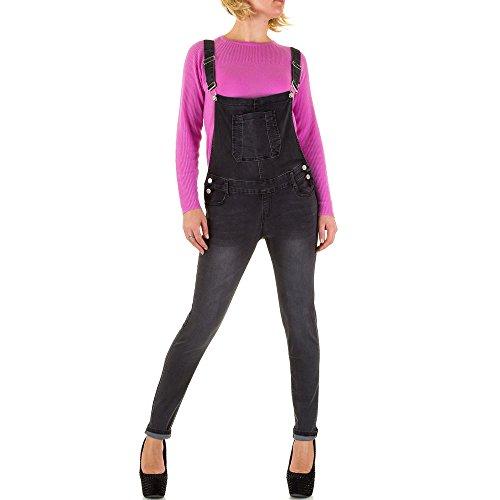 Damen Jeans Hose Jeanshosen Used Look Latzhose Latzjeans Skinny Grau 36