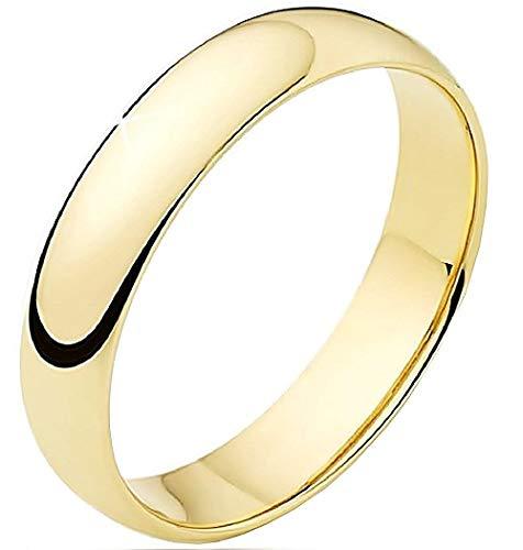 Evrylon anello fidanzamento donna uomo fedina fidanzati fede fascia acciaio inossidabile idea regalo unisex colore oro size (it 16)