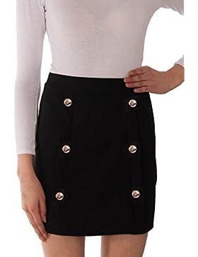 Re Tech UK mujer talle alto DELANTERO Botón De Oro FALDA CORTE TRAPECIO Mini elástico liso moderno Tallas 6-12