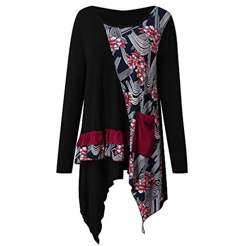 Frauen Blusen Lange Ärmel O Neck Floral Tops Damen T-Shirt Bluse Vintage Lang Split Asymmetrisch Festkleider Abendkleid Bodycon Minikleid Feiertagskleid -