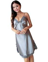 pijamas GillBerry Mujer Lencería del cordón de seda vestido de bata Picardias Camisón