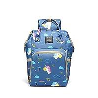 Shen Bei Diaper bag Mummy Bag Baby Travel Backpack Bag Large Waterproof Bag Blue Multi Color With Cartoon Pattern
