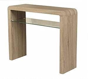 Malmo Oak Console Table With Shelf Oak Hall Table Finish Dark Oak Tempered Glass