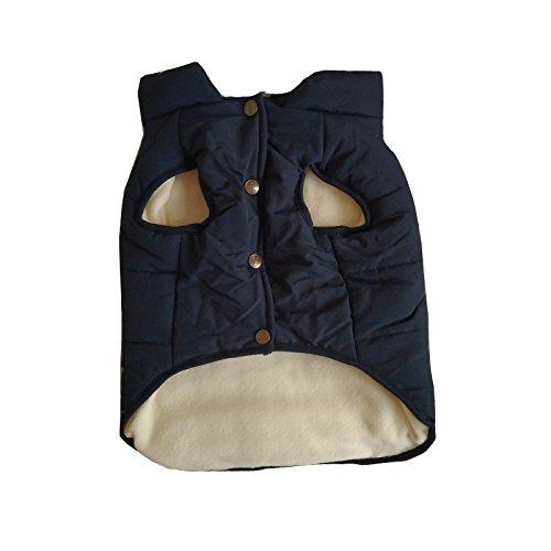 PENVIO Hundekleidung Winter warme Mäntel und Jacken, Hündchen Weste Bekleidung für kleine mittlere große Hunde Feder Kleidung (L, Blau) -