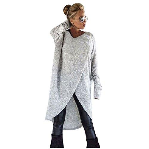 VJGOAL Damen Pullover, Damen Mädchen Mode Frühling Herbst unregelmäßigen Stricken lose Sweatshirt Pullover Lange Tops Bluse (L, Grau)
