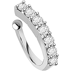 chandrika pearls gems & jewellers Silver Plated White Stone plated Metal Press On Nose Ring For Women & Girls