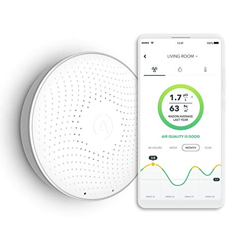 Airthings Wave Smart Radon Detector with free app, battery operated, no lab fees, easy to use
