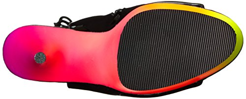 Pleaser Rainbow-1018UV-6, Sexy Stiletto Plateau High Heels Sandaletten, Regenbogenfarben Blk Pat/Neon Multi