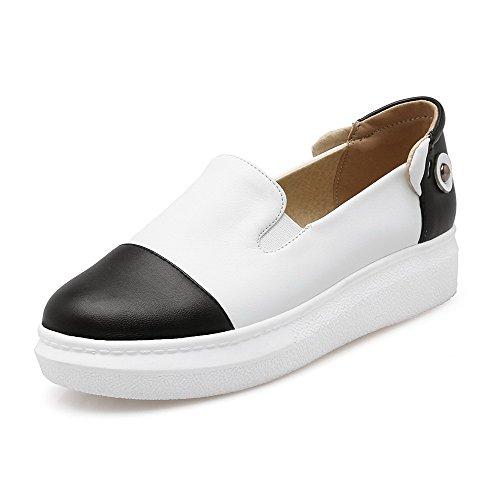 VogueZone009 Femme Tire Rond à Talon Bas Pu Cuir Mosaïque Chaussures Légeres Blanc