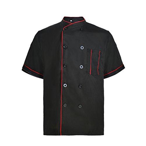 TopTie Kurzarm Kochjacke K¨¹Che Koch Mantel Streifen Uniformen-Schwarz-S (Frauen Uniform Chef)