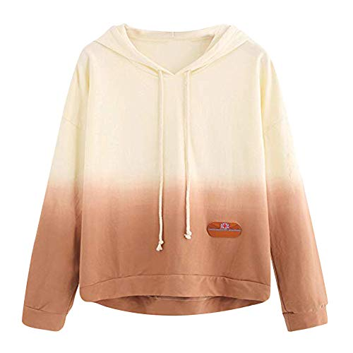 CixNy Kapuzenpullover Damen Sweatjacke Hoodie Gedruckt Patchwork Sweatshirt Steigung Langarm Pullover mit Kapuze Tops Kapuzenjacke Hooded Bluse Jacke (Gelb, S) -