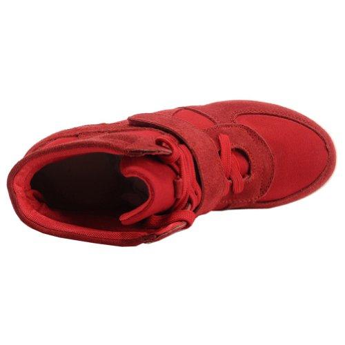 Shenn Femme Agréable Désinvolte Coinçage En Tissu&Suède Baskets Mode Chaussures 8522 Rouge