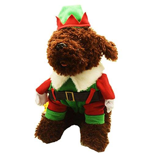 NACOCO Weihnachten Hundemantel Elf Pet Santa Claus Kostüm Katze Outfit mit Cape und Mütze, S, Grün (Santa's Elf Kostüm Hunde)