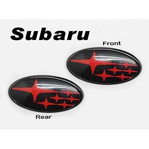 (2) parte delantera y trasera brillante negro con rojo estrellas Insertar insignia emblema para 2011-up Subaru Impreza WRX STI