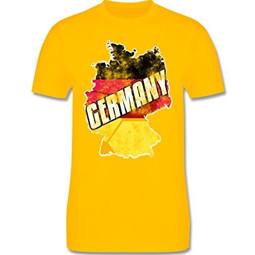 EM 2016 - Frankreich - Germany Umriss Vintage - Herren Premium T-Shirt Gelb