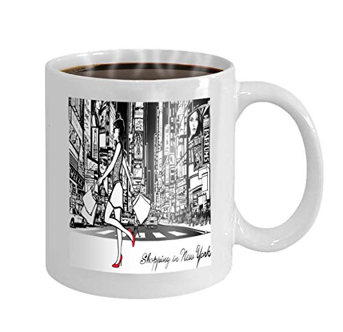 11 oz Coffee Mug shopping times square new york night all ads imaginary Painting Novelty Ceramic Gifts Tea Cup