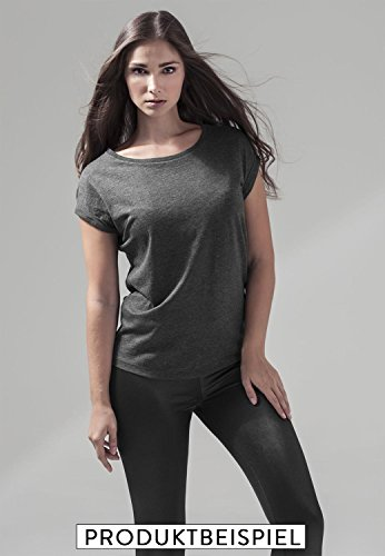 Ladies Shirt Oversize Tanktop wake up and make up - Schwarz & Weiß - umgeschlagener Ärmelsaum T-Shirt mit Motiv - Neu Dunkelgrau