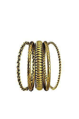 Karneval-Klamotten Armband Zigeunerin Armreif Alt-Gold 5 Feine -