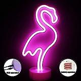 XIYUNTE LED Flamingo Neonlicht Zeichen - Room Decor Nachtlichter mit Sockel Innenbeleuchtung Batterie & USB Operation Leuchtschilder, Nachttischlampen Home Dekoration für Schlafzimmer(Batterie & USB)