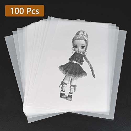 YOTINO 100 Pezzi Foglio di Carta Trasparente A4, Fogli Lucidi A4 Disegno, Carta da Lucido Trasparente Bianca per Pittura Disegno