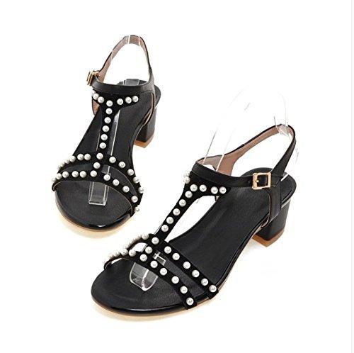 le donne sono spesso i sandali con tacco delle scarpe in cuoio pearl Black