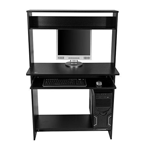 Mari Home - Bewicke Nero Scrivania per ufficio computer Scaffale Ripiani computer desk angolare Tavolo per Computer con ripiano tastiera