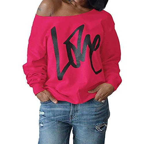 emp aufkleber iHENGH Karnevalsaktion Damen Mode Sexy Frauen Brief Langarmshirts Bluse Frauen Pullover Strapless Sweatshirt