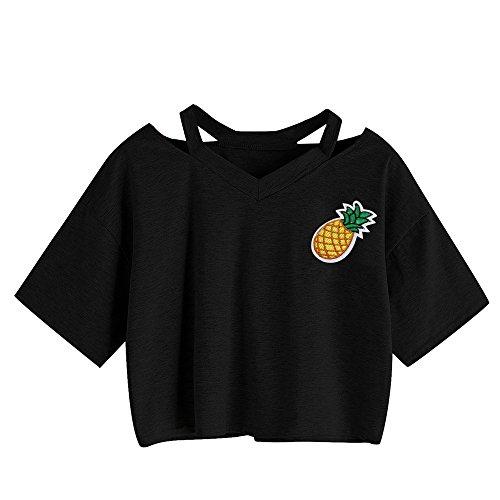 Crop Top Damen Sommer, Ulanda Teenager Mädchen Ananas Stickerei Bauchfrei Bluse Sport V-Ausschnitt Tops Shirt Hemd Frauen Kurzarm Lässiges T Shirt Oberteil Pullover Sale (Schwarz, S)