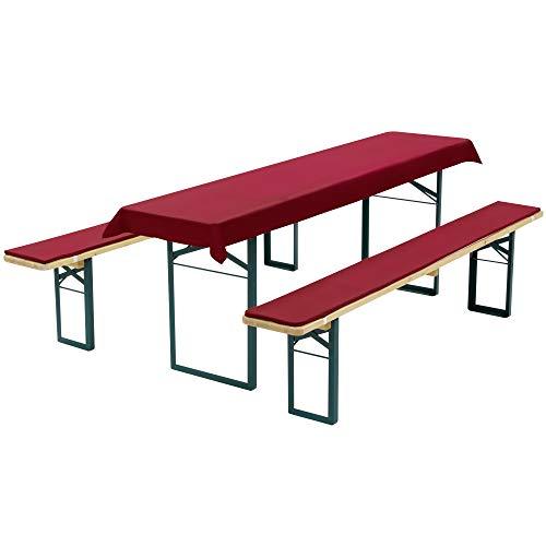 Bierbankauflagen Set Dunkelrot - Tischdecke für 70cm Tisch und 2 Bankauflagen 220x25cm gepolstert - Auflagen Set für alle gängigen Bierzeltgarnituren