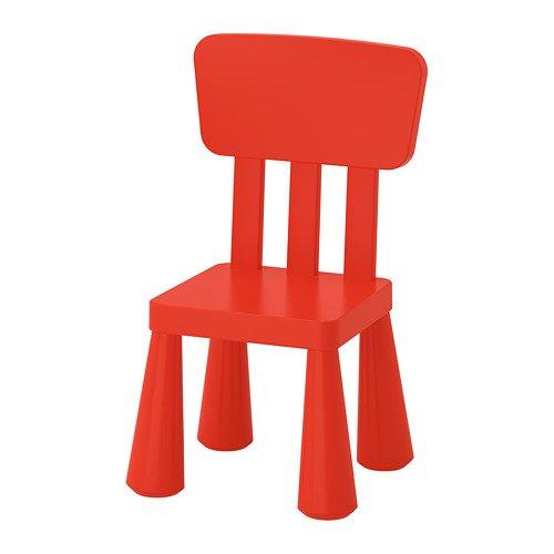 "IKEA Kinderstuhl ""MAMMUT"" Kindermöbel Stuhl in kräftigem ROT aus unbedenklichem Kunststoff - BxTxH: 39x36xx67cm"