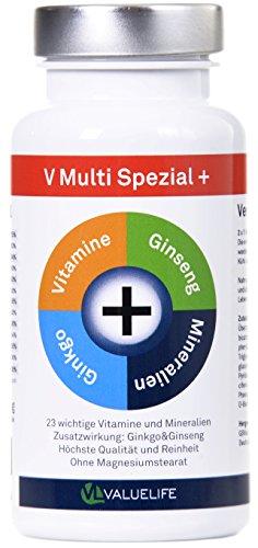 Multivitamin Kapseln hochdosiert I Dauerhafte Stärkung des Immunsystems I Ideale tägliche Vitaminversorgung I Alle wichtigen Vitamine & Mineralien A-Z I Plus Ginkgo Biloba & Ginseng I 90 Kapseln
