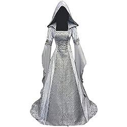 beautyjourney Vestido de túnica con Capucha de época Medieval de Mujer Tamaño Grande Manga Larga Palabra de Longitud Cosplay Maxi Vestidos Vestido de Fiesta Vestido de Noche