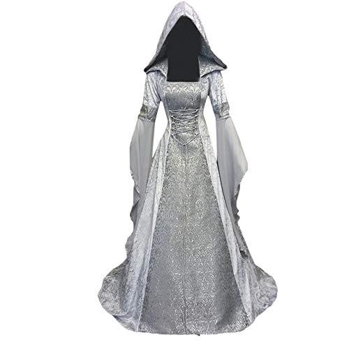 Dress Fancy Kostüm Renaissance - MYMYG Damen Langarm mit Kapuze Mittelalter Kleid bodenlangen Cosplay Dress Age Mittelalter Kleidung Große Größen Renaissance Kostüm Lang Halloween Kostüm