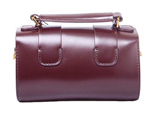 Borsa a Mano Donna Mini Nero in Vera Lucida Pelle Borse Messenger Piccola Borse Tracolla Spalla Vintage Bag per Ragazze Vino rosso