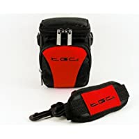 The TGC ® Anti-Shock Camera Case for Nikon Coolpix W300 (Black & Crimson Red)
