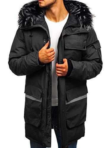 BOLF Herren Winterjacke Lange Parka Fell Kapuze Casual Style J.Style 201815 Dunkelgrau XL [4D4]   05902646933764