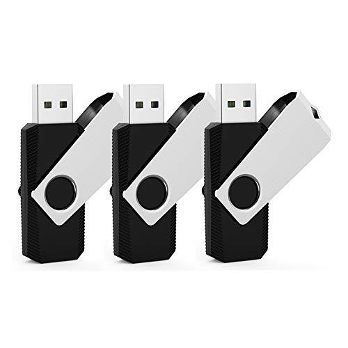 KEXIN USB-Stick 64GB USB 3.0 3 Stück USB-Flash-Laufwerk Speicherstick Mini Pendrive Memory Sticks Flach Drive 360° Drehbar Design für PC Computer Geschäft Student Geschenk (Schwarz) (Mini-usb-flash-laufwerk)
