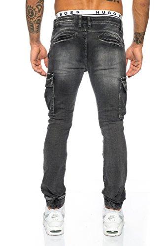 Husaria Jeanshose Jeans Herren Beintaschen Denim Gerippt Hose Oversize 005 Schwarz