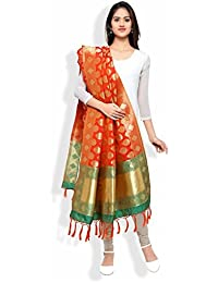 Banarasi Dupatta By Ravechi Fab (Orange & Green)
