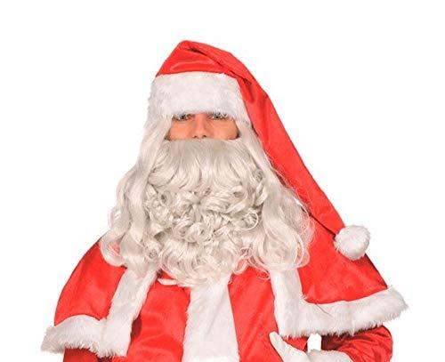(shoperama Deluxe Weihnachtsmann Perücke und Bart Santa Claus Nikolaus Weihnachten Rauschebart)