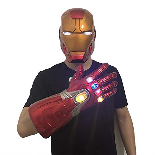 Spiel Iron Kostüm Mann - QWEASZER Iron Man Helm Maske Infinity Gauntlet Handschuhe Luminous, Marvel Avengers PVC Vollmasken Helme Halloween Film Cosplay Kostüm Requisiten,Iron Man Infinity Gauntlet-<65cm