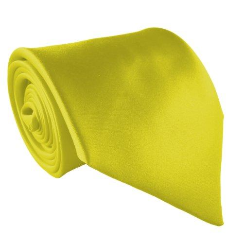 100% Satin Cravate à Clipser - Différentes Couleurs Jaune